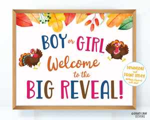 Turkey Gender Reveal Welcome Sign, Thanksgiving Gender Reveal, Fall Gender Reveal Welcome Gender Reveal Sign, Little Turkey Big Reveal