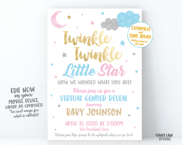 Virtual Gender Reveal Invitation, Long Distance Gender Reveal Invite, Twinkle Twinkle Little Star How We Wonder What You Are, Pink Blue Gold