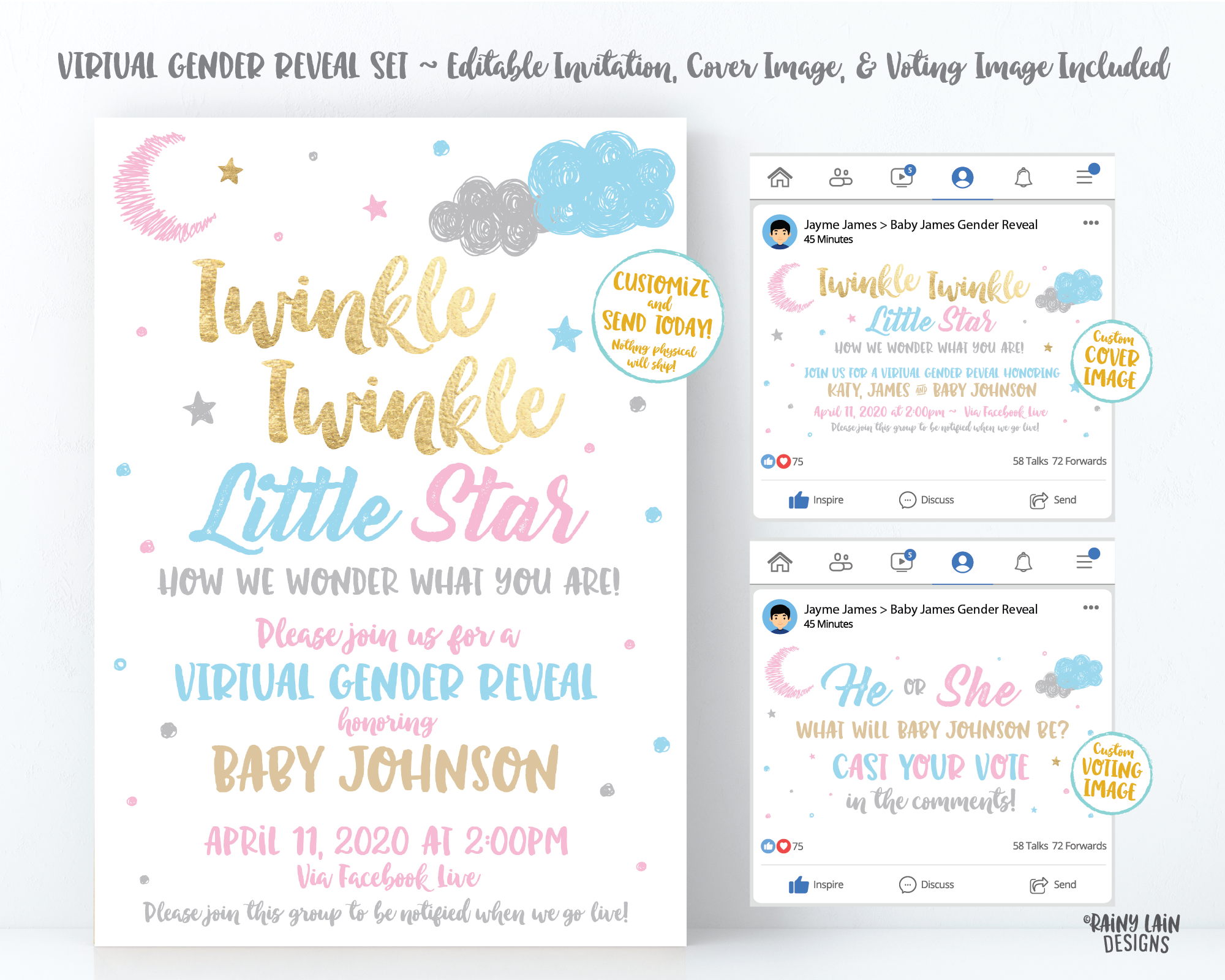 Social Media Gender Reveal, Virtual Gender Reveal Invite, Cover Photo, Live Video, Long Distance, Twinkle Twinkle Little Star How We Wonder