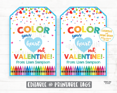 Crayon Valentine, Color Your Heart Out Valentine, Coloring Book Valentine Tag, Preschool, Classroom, Printable Non-Candy Valentine Tags