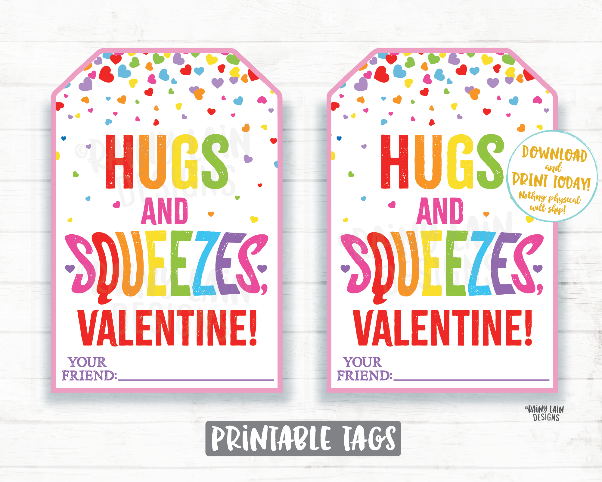 Squeeze Valentine Hugs and Squeezes Squishie Applesauce Squishy Toy Squishee Squeeze Preschool Classroom Printable Non-Candy Valentine Tag