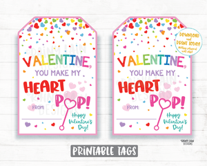 You Make my Heart Pop Valentine Tag, Bubbles Valentine Favor Tag, Preschool Valentines Non-Candy Classroom Printable Valentine Tags