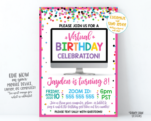 Virtual Birthday Party Invitation, Virtual Party Invitation, Video Chat Party, Social Distancing Party, Stay at Home Party, Zoom Party, Girl