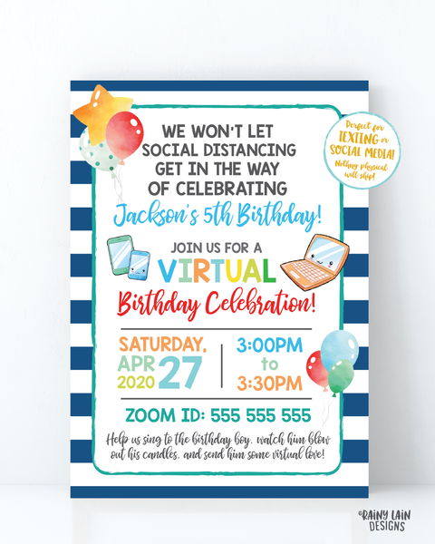 Virtual Birthday Party Invitation, Virtual Party Invitation, Social Distancing Party, Zoom Party Boy Video Chat Party, Stay at Home Party