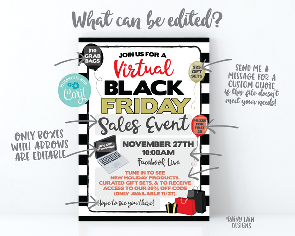 Virtual Black Friday Sales Event Invitation Black Friday Flyer Sale Event Invite Virtual Black Friday Sale Flyer Online Social Distance 2020