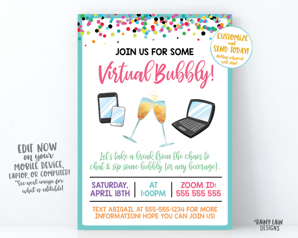 Virtual Bubbly Invitation, Mimosas, Champagne, Virtual Happy Hour, Quarantini, Cocktail Party, Lady Date, Video Chat Social Distancing Party