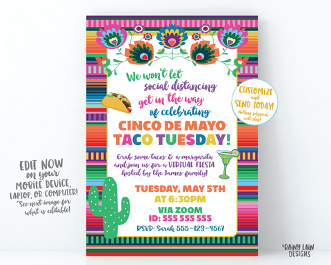 Virtual Cinco de Mayo Invitation, Virtual Fiesta, Cinco de Mayo Fiesta Taco Tuesday Social Distancing Party from Home, Quarantine Margarita