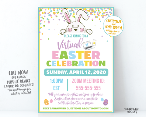Virtual Easter Invitation, Long Distance Easter Celebration, Social Distancing Easter Party, Video Chat Party, Virtual Celebration, Hangouts