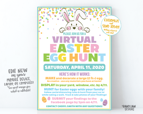 Virtual Easter Egg Hunt Invitation, Neighborhood Easter egg Scavenger Hunt, Long Distance Egg Hunt, Social Distancing Easter Egg Hunt, Local