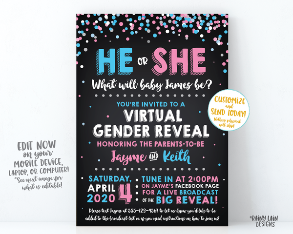 Virtual Gender Reveal Invitation, Cover Photo, Long Distance Gender Reveal, Social Media Gender Reveal, Live Video, He or She Confetti Chalk
