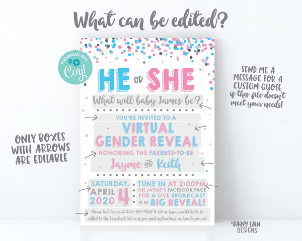 Virtual Gender Reveal Invitation, Long Distance Gender Reveal Invite, Blue or Pink, Confetti, Facebook Live, FaceTime, Video Chat, Skype