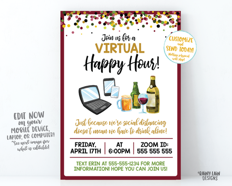 Virtual Happy Hour Invitation, Virtual Beer and Wine, Virtual Party Invitation, Quarantini, Cocktail Party, Video Chat Social Distancing