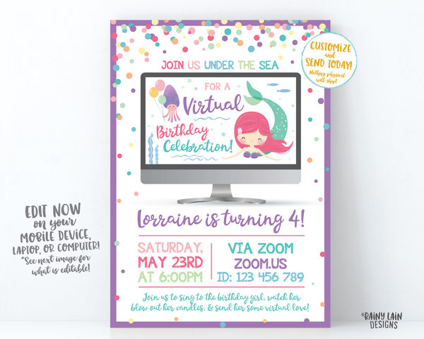 Virtual Mermaid Birthday Invitation, Mermaid Virtual Birthday Party Invite, Virtual Party, Quarantine, Social Distancing, Stay at Home Party