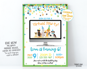 Puppy Virtual Party Invitation Virtual Birthday Party Invitation Video Chat Party Paw-ty Social Distancing Stay at Home Party Zoom Party