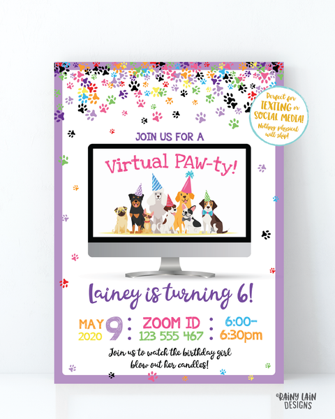 Virtual Birthday Party Invitation Puppy Virtual Party Invitation, Video Chat Party, Social Distancing Party, Stay at Home Party, Zoom Party