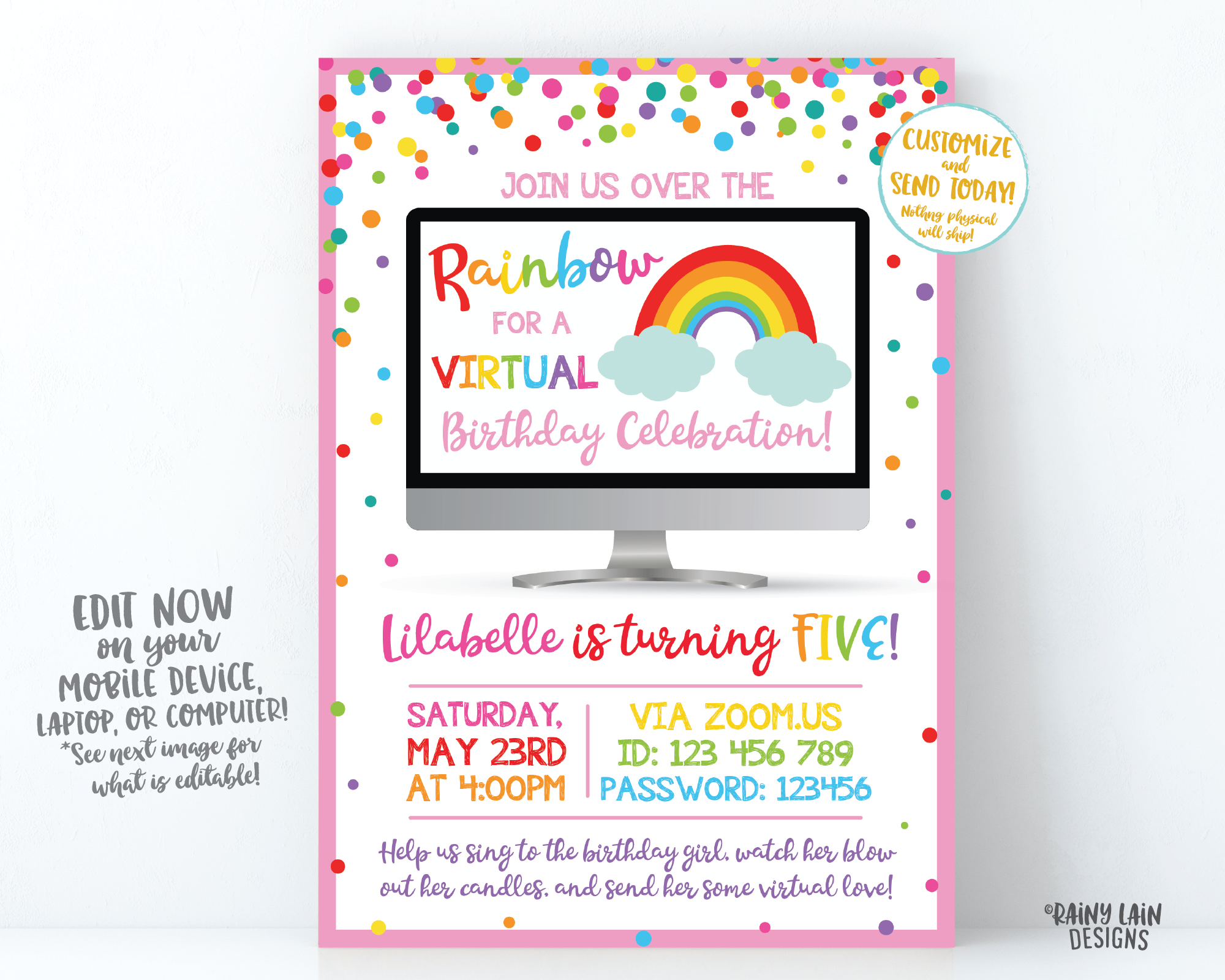 Virtual Rainbow Birthday Invitation, Rainbow Virtual Birthday Party Invite, Virtual Party, Quarantine, Social Distancing, Stay at Home Party