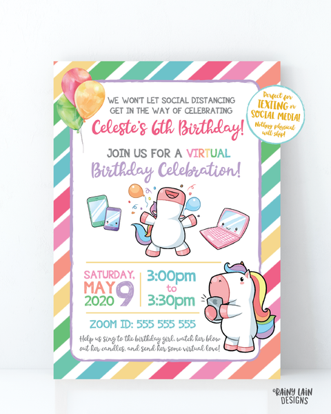 Virtual Unicorn Birthday Invitation, Unicorn Virtual Birthday Party Invite, Virtual Party, Quarantine, Social Distancing, Stay at Home Party