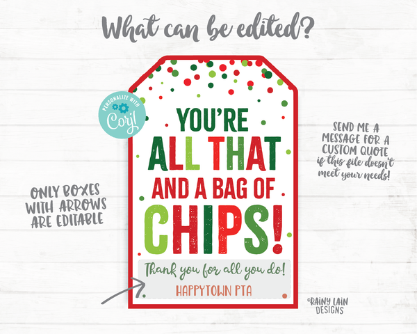 You're all that and a bag of chips Tag Christmas Gift Tag Employee Appreciation Tag Company Co-Worker Staff Corporate Teacher PTO Thank you