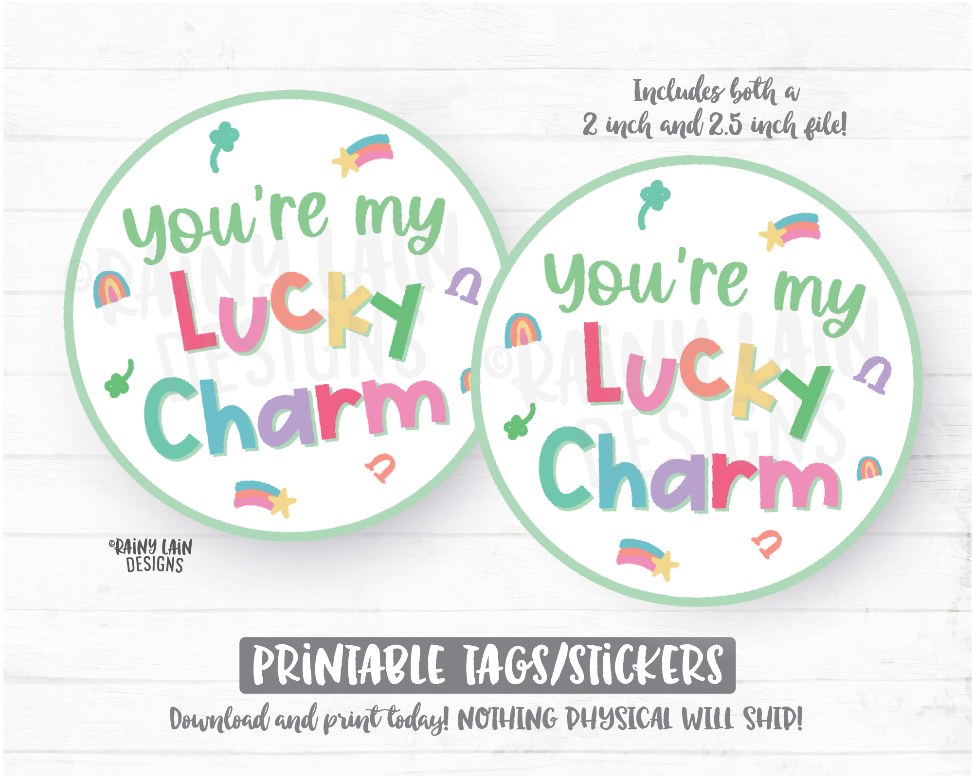 You're my lucky Charm Tag, Happy St Patrick's Day Tag, Printable Cookie Tag Round Tag 2 inch circle tag, Cookie Card Instant Download Bakery - St Patrick's Day Cookie Packaging