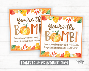 Pumpkin Hot Cocoa Bomb Tag, Pumpkin Spice Hot Chocolate Bomb Tags, Editable Cocoa Bomb Tags, You're the Bomb, Fall Gift Tags, Pumpkin Tag