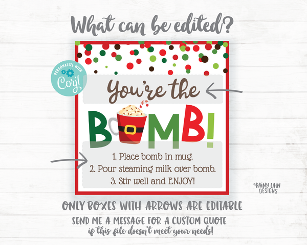 Christmas Hot Cocoa Bomb Tag, Peppermint Hot Chocolate Bomb Tags, Editable Cocoa Bomb Tags, You're the Bomb, Holiday Gift Tags Christmas Tag