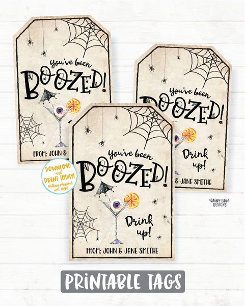 You've been boozed tag, You've been boozed printable tag, Halloween Wine Tag, Halloween Spirits Tag, Beer, Liquor, Cocktail Drink Up Witches