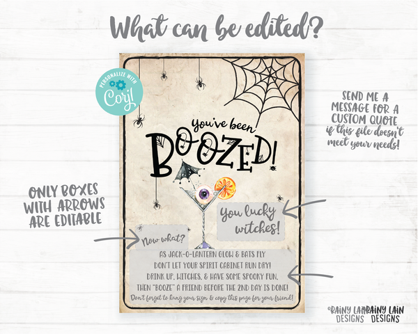 You've been boozed printable set Editable You've been boozed tag and instructions, Halloween Wine Tag Spirits Beer Cocktail Drink Up Witches
