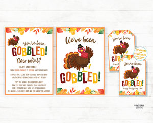 You've been gobbled printable set Editable You've been gobbled tag and instructions Wine Thanksgiving Gift Neighborhood Gift Exchange Office