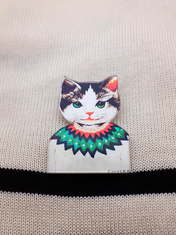 retro kitty acrylic brooch - cat in geometric sweater