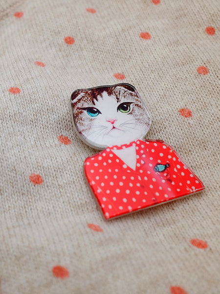 dotty cat acrylic brooch - kitty in red polka dot sweater