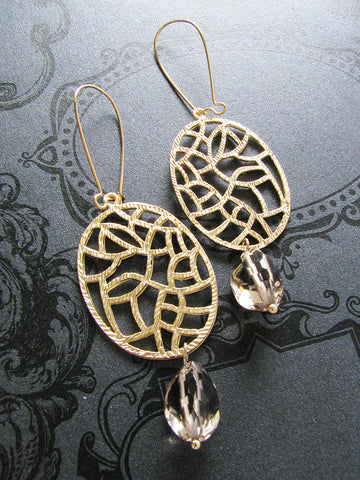 gold-plated quartz earrings