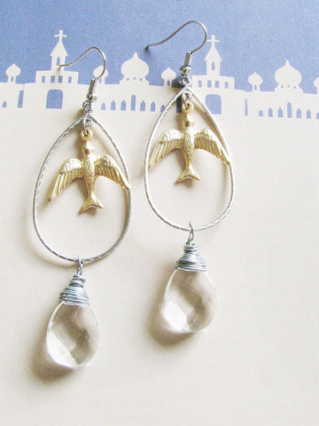 doving over clear quartz earrings