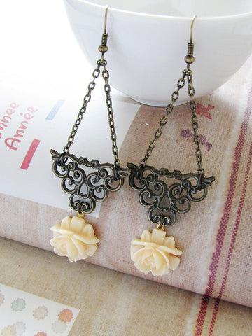 champagne rose earrings