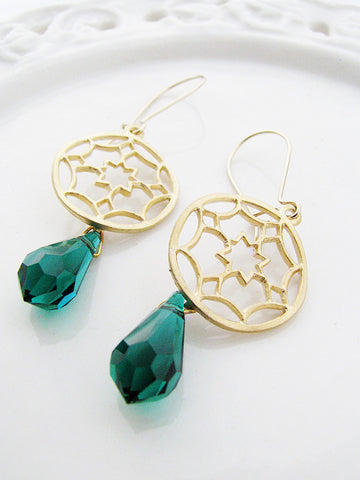 emerald starburst earrings