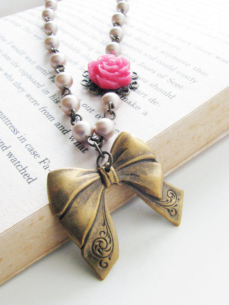 rosy ribbon necklace