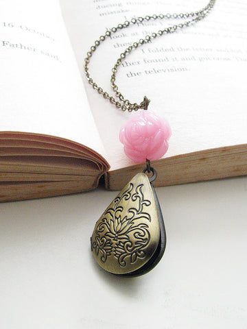 rose in my heart teardrop locket