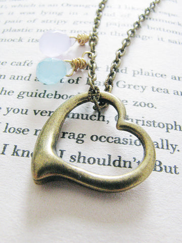 tugging at my heart necklace - dark gold