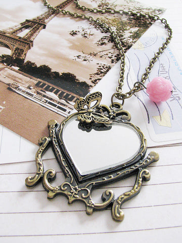 mirror, mirror on the wall necklace - vintaged gold