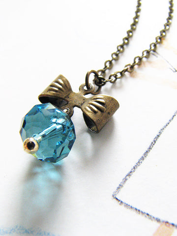 ethereal bow necklace - azure blue