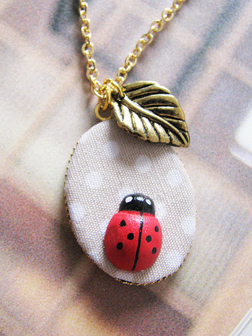 ladybird leaf necklace
