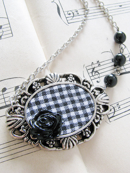 framed noir rose necklace