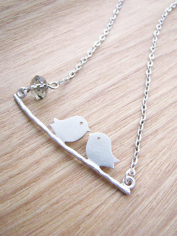 lovebirds necklace - matte silver with smoky grey Swarovski crystal
