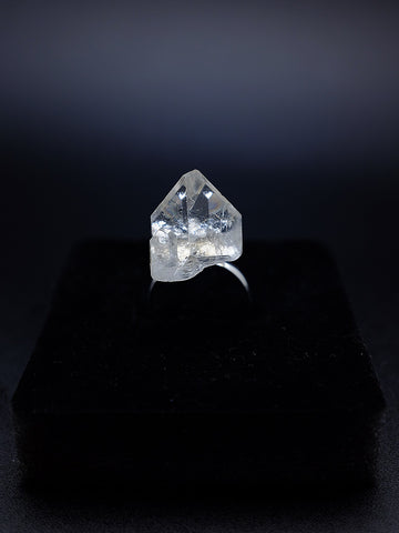 rock mountain ring of natural mineral crystal pyramid