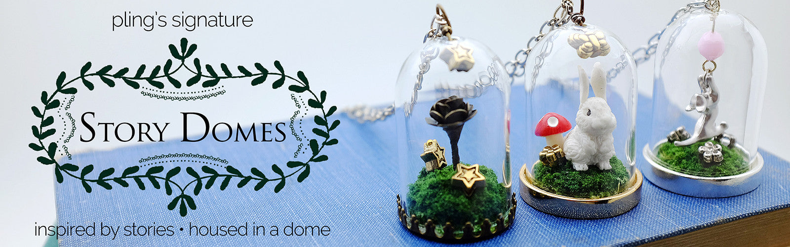 Story Domes by pling - glass apothecary necklaces, bell jar necklace, The Little Prince's Rose, Bunny in the Woods, Rabbit in the Woods