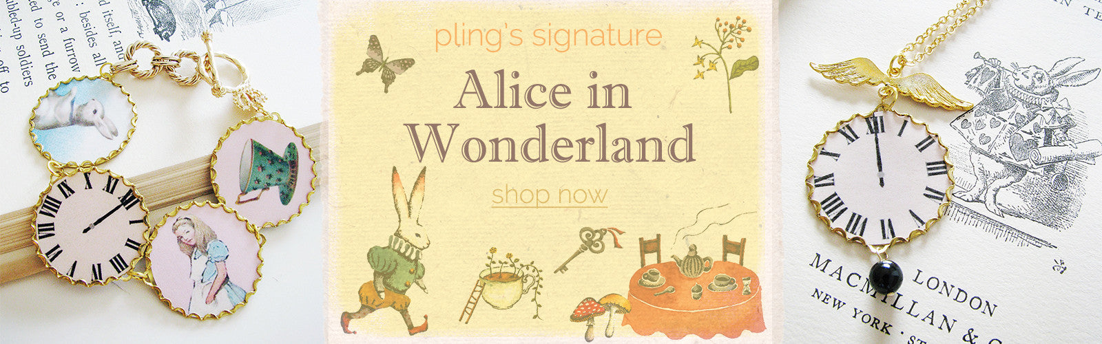Alice in Wonderland jewelry by pling - bracelets, necklaces, jewellery, The White Rabbit, Teacup