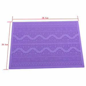 LOLO Flower Pattern Silicone Mat Fondant Cake Lace Embossed Cake Mold Sugar Lace Mat Cake Decorating