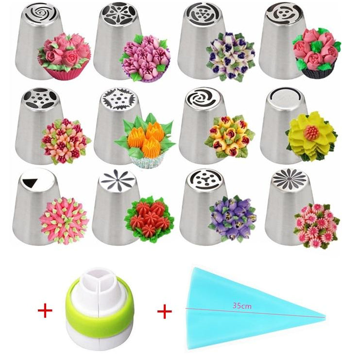 14pc/Set LOLO TOOLS Russian Tulip Icing Piping Nozzles Stainless Steel Flower Cream Pastry Tips Nozzles Bag Cupcake Cake Decorating Tools