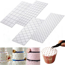 Load image into Gallery viewer, 4pc/ LOLO Set Grid Transparent Texture Mat Cake Border Decorating