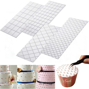 4pc/ LOLO Set Grid Transparent Texture Mat Cake Border Decorating