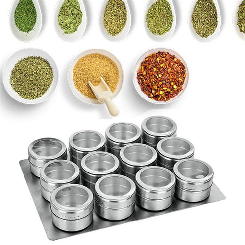 LOLO 9/12 Pieces Magnetic Spice Jars Set Stainless Steel